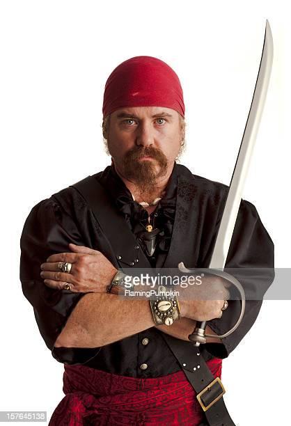 Pirate in Schwarz mit Schwert. Weißer Hintergrund