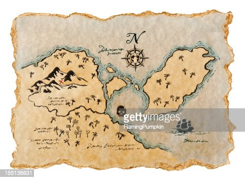 Pirate Map to Buried Treasure, Isolated on White. Horizontal. : Stock Photo