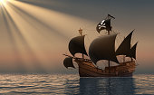 Pirate Ship In Rays Of the Sun. 3D Scene.