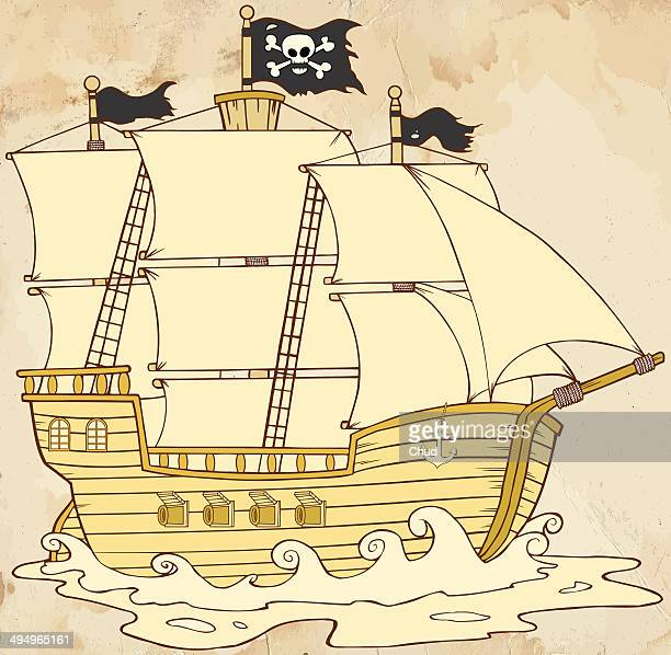 Pirate Ship Sailing In Old Paper