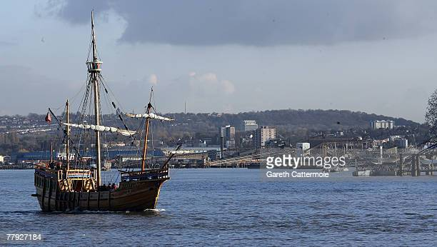 A pirate ship sails down the Thames on it's way past the O2 Arena on November 15 2007 in London England The ship is to celebrate the launch of the...