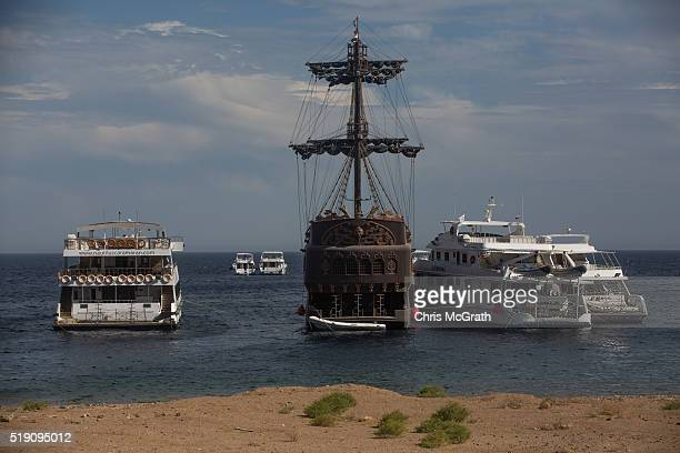 A pirate themed tourist boat is seen docked at a marina on April 3 2016 in Sharm El Sheikh Egypt Prior to the Arab Spring in 2011 some 15million...