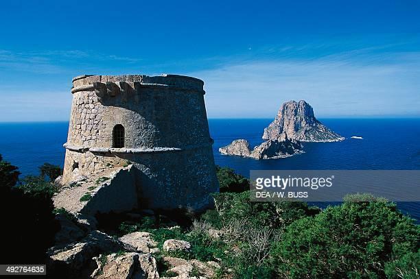 Pirate tower and Es Vedra Ibiza Balearic Islands Spain