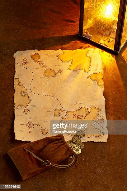 Pirate Treasure Map and Gold Coins. Full Frame, Vertical.