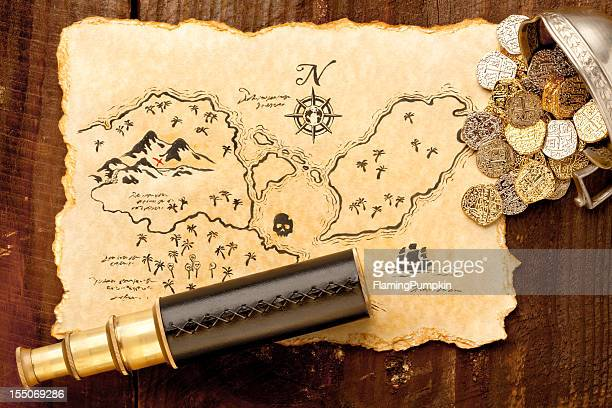 Pirate Treasure Map and Spy Glass. Full Frame. XXXL