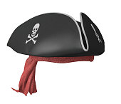 Realistic render of a black pirate captain's hat and a patterned bandana.
