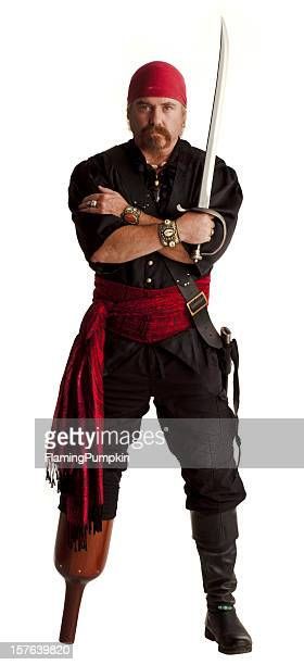 Pirate with a wooden leg. White Background.