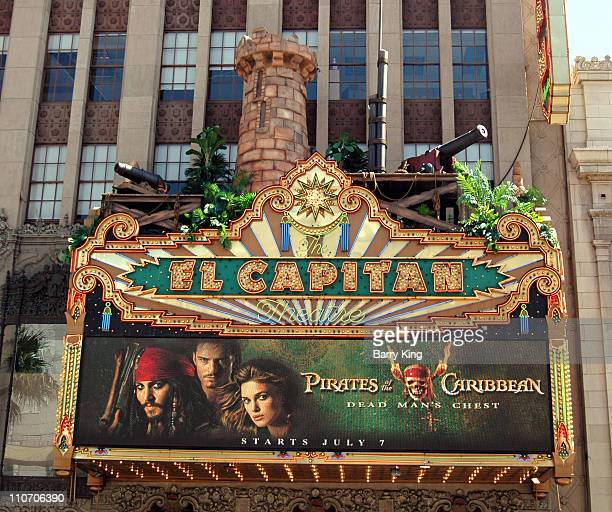 'Pirates of the Caribbean Dead Man's Chest' marquee at the El Capitan Theatre Hollywood CA