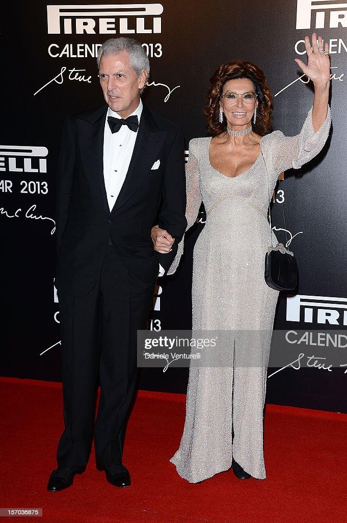 Pirelli & C President Marco Tronchetti Provera and Sophia Loren attend the '2013 Pirelli Calendar Unveiling' on November 27, 2012 in Rio de Janeiro, Brazil.