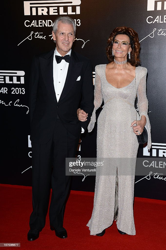 Pirelli & C President Marco Tronchetti Provera and Sophia Loren attend the '2013 Pirelli Calendar Unveiling' on November 27, 2012 in Rio de Janeiro, Brazil.