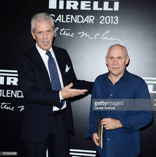 Pirelli C President Marco Tronchetti Provera and Steve McCurry attend the 2013 Pirelli Calendar Unveiling Press Conference at Hotel Palace Copacabana...