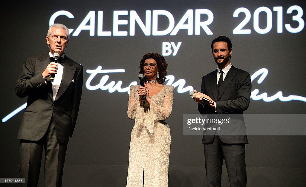 Pirelli & C President Marco Tronchetti Provera, Sophia Loren and Rodrigo Santoro attends the '2013 Pirelli Calendar Unveiling' on November 27, 2012 in Rio de Janeiro, Brazil.