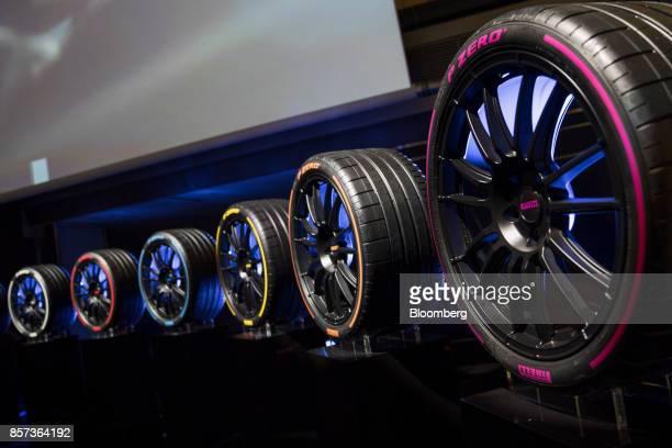 Pirelli P ZERO tires manufactured by Pirelli C SpA sit on display at the Borsa Italiana Italy's Stock Exchange during the Pirelli C SpAlaunch...