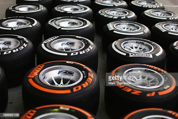 Pirelli tyres are laid out in the paddock during practice for the Bahrain Formula One Grand Prix at the Bahrain International Circuit on April 19...