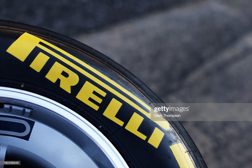 Pirelli tyres are seen in the paddock during day two of Formula One winter test at the Circuit de Catalunya on February 20, 2013 in Montmelo, Spain.