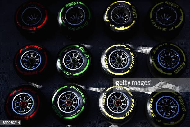 Pirelli tyres in the Paddock for Red Bull Racing during the final day of Formula One winter testing at Circuit de Catalunya on March 10 2017 in...