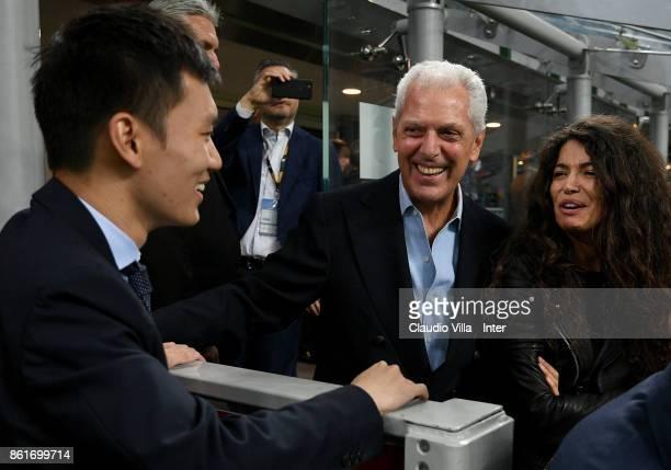 Pirelli Vice Chairmain and CEO Marco Tronchetti Provera and FC Internazionale Milano board member Steven Zhang attend during the Serie A match...