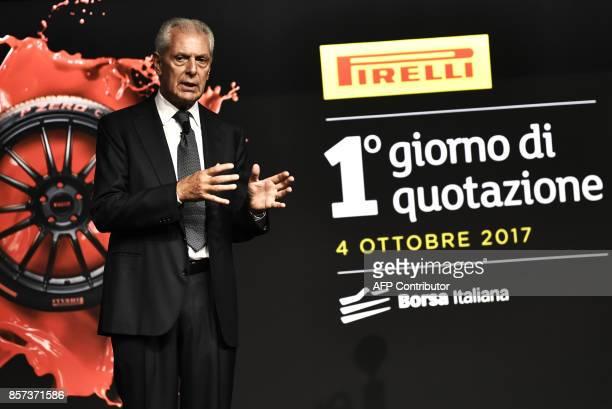 Pirelli's Executive Vice Chairman Marco Tronchetti Provera speaks during a ceremony marking the return of Italian tyremaker Pirelli at Milan's stock...