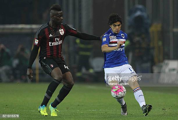 Pires Dodo of UC Sampdoria competes for the ball with Mario Balotelli of AC Milan during the Serie A match between UC Sampdoria and AC Milan at...