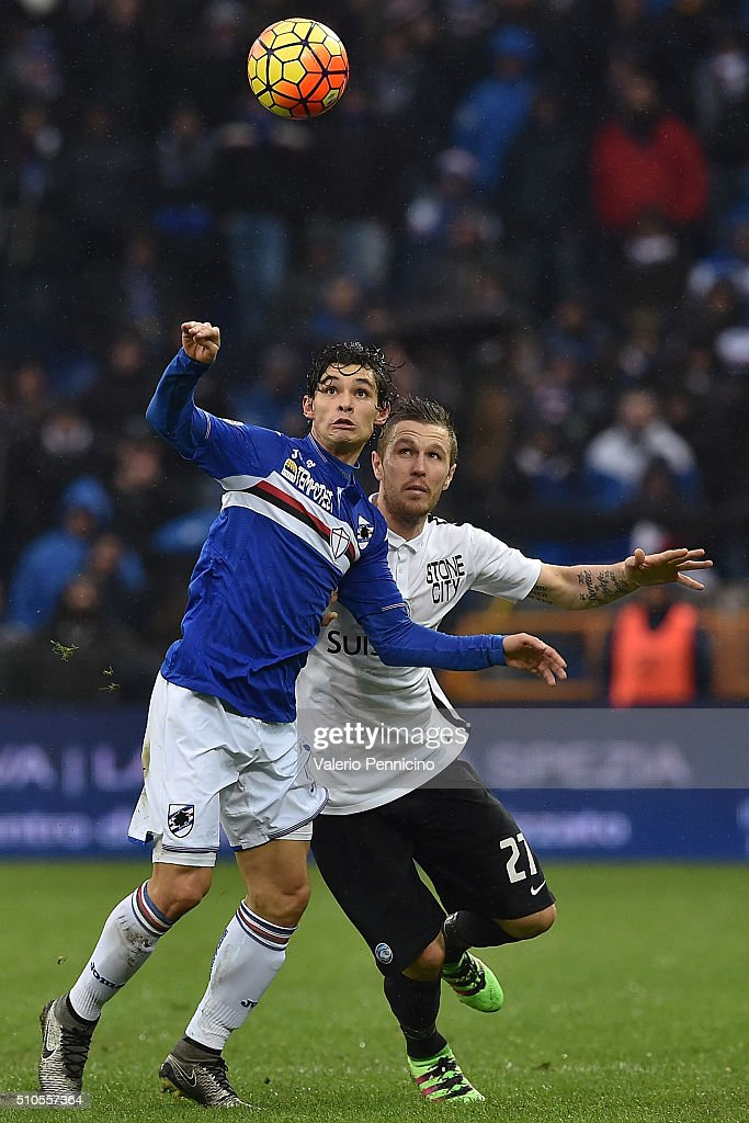 Pires Dodo (L) of UC Sampdoria is challenged by <a gi-track='captionPersonalityLinkClicked' href=/galleries/search?phrase=Jasmin+Kurtic&family=editorial&specificpeople=7418994 ng-click='$event.stopPropagation()'>Jasmin Kurtic</a> of Atalanta BC during the Serie A match between UC Sampdoria and Atalanta BC at Stadio Luigi Ferraris on February 14, 2016 in Genoa, Italy.