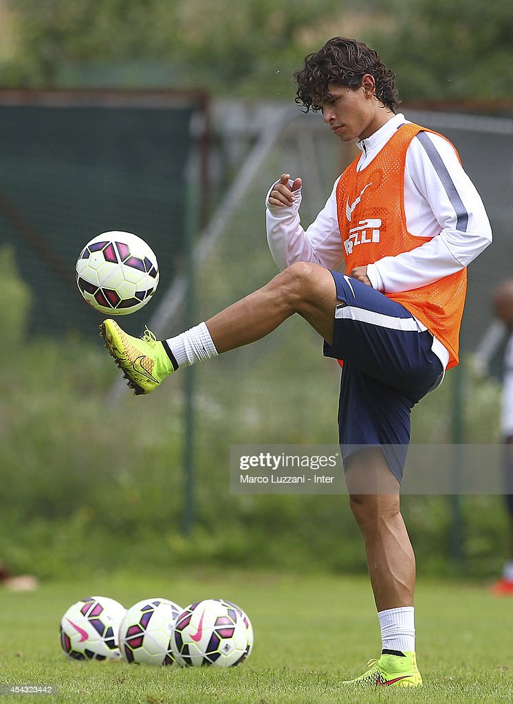 Pires Ribeiro Dodo of FC Internazionale Milano controls the ball during FC Internazionale Training Session at the club's training ground on August 29, 2014 in Appiano Gentile Como, Italy.