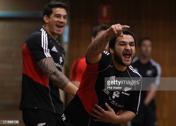 Piri Weepu and Sonny Bill Williams of the All Blacks enjoy a game of indoor cricket during a New Zealand All Blacks recovery session at the Anglican...