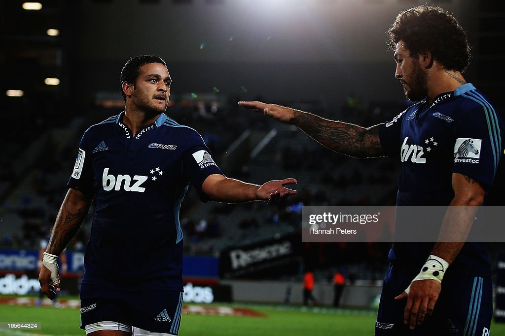 Piri Weepu celebrates with Rene Ranger of the Blues after scoring a try during the round eight Super Rugby match between the Blues and the Highlanders at Eden Park on April 5, 2013 in Auckland, New Zealand.
