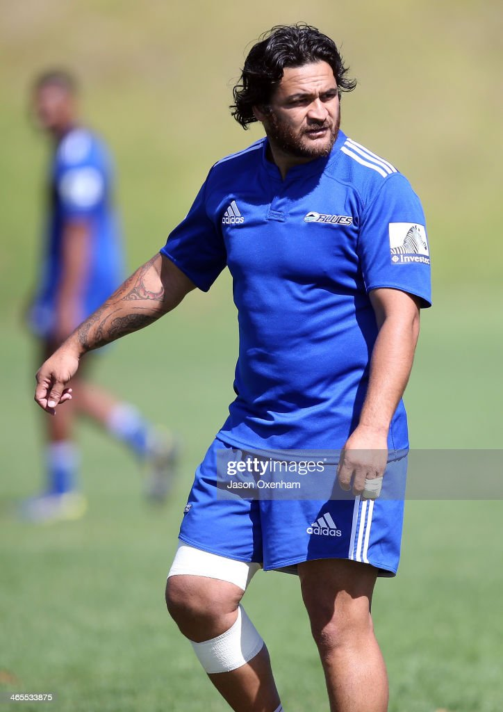 Piri Weepu during a Blues Super Rugby training session at Unitec on January 28, 2014 in Auckland, New Zealand.