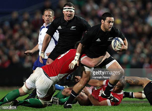 Piri Weepu of New Zealand makes a break during the test match between the New Zealand All Blacks and Wales at Waikato Stadium on June 26 2010 in...