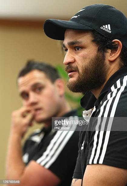 Piri Weepu of the All Blacks answers a question alongside Israel Dagg during the New Zealand All Blacks team announcement at The Heritage Hotel on...