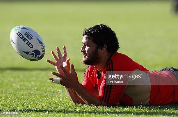 Piri Weepu of the All Blacks catches the ball during a New Zealand IRB Rugby World Cup 2011 training session at North Harbour Stadium on October 7...