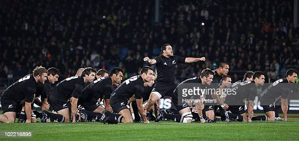 Piri Weepu of the All Blacks leads the haka before the First Test match between the New Zealand All Blacks and Wales at Carisbrook on June 19 2010 in...