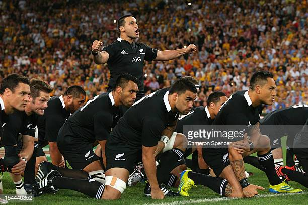 Piri Weepu of the All Blacks leads the Haka during the Bledisloe Cup match between the Australian Wallabies and the New Zealand All Blacks at Suncorp...