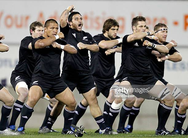 Piri Weepu of the All Blacks leads the haka prior to the start off the 2010 TriNations Bledisloe Cup match between the Australian Wallabies and the...