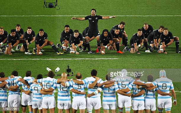 Piri Weepu of the All Blacks performs the Haka with team mates during quarter final four of the 2011 IRB Rugby World Cup between New Zealand and...