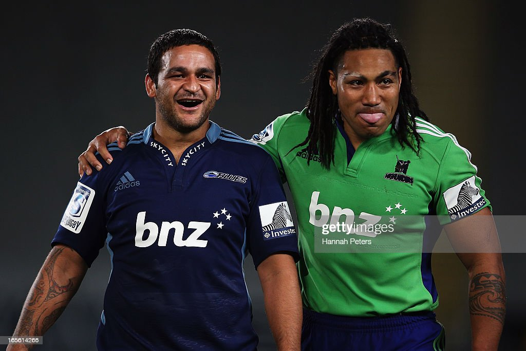 <a gi-track='captionPersonalityLinkClicked' href=/galleries/search?phrase=Piri+Weepu&family=editorial&specificpeople=540383 ng-click='$event.stopPropagation()'>Piri Weepu</a> of the Blues and Ma'a Nonu of the Highlanders walk off following the round eight Super Rugby match between the Blues and the Highlanders at Eden Park on April 5, 2013 in Auckland, New Zealand.
