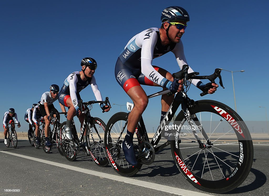 Pirmin Lang of Switzerland leads the IAM Cycling team during stage two of the 2013 Tour of Qatar, a 14km Team Time Trial, along Al Rufaa Street on February 4, 2013 in Doha, Qatar.