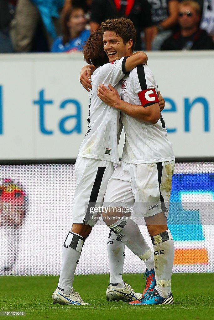 Pirmin Schwegler of Frankfurt celebrates his goal with Takashi Inui of Frankfurt during the Bundesliga match between 1899 Hoffenheim and Eintracht...