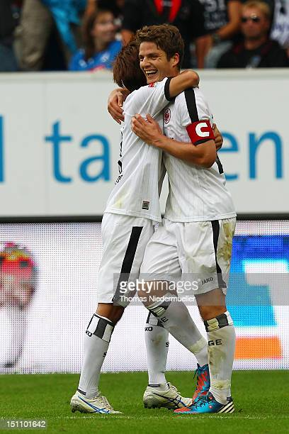 Pirmin Schwegler of Frankfurt celebrates his goal with Takashi Inui of Frankfurt during the Bundesliga match between 1899 Hoffenheim and Eintracht...