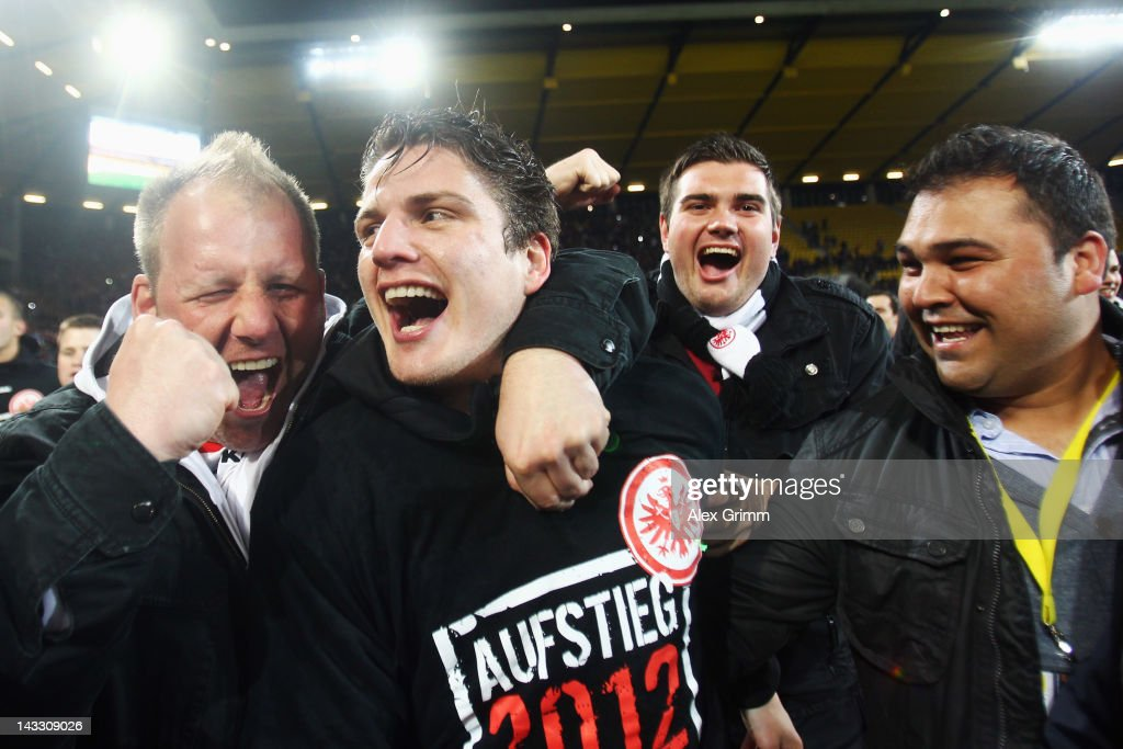 <a gi-track='captionPersonalityLinkClicked' href=/galleries/search?phrase=Pirmin+Schwegler&family=editorial&specificpeople=604263 ng-click='$event.stopPropagation()'>Pirmin Schwegler</a> (C) of Frankfurt celebrates with the fans after the Second Bundesliga match between Alemannia Aachen and Eintracht Frankfurt at Tivoli Stadium on April 23, 2012 in Aachen, Germany.