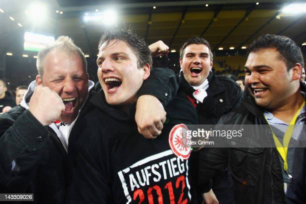 Pirmin Schwegler of Frankfurt celebrates with the fans after the Second Bundesliga match between Alemannia Aachen and Eintracht Frankfurt at Tivoli...