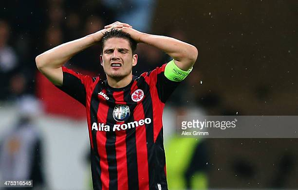 Pirmin Schwegler of Frankfurt reacts after the UEFA Europa League Round of 32 second leg match between Eintracht Frankfurt and FC Porto at...