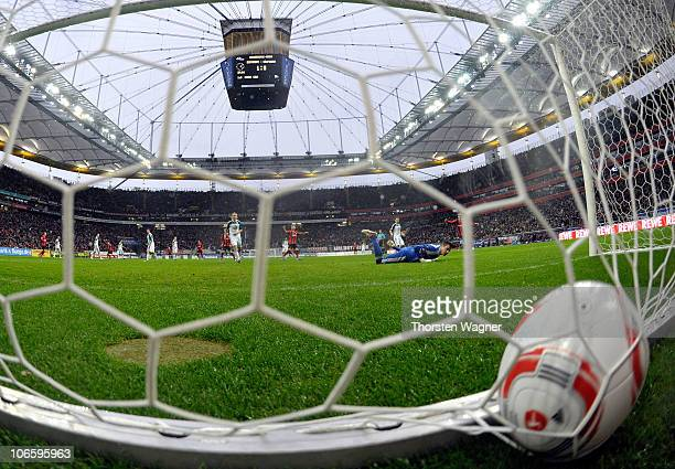 Pirmin Schwegler of Frankfurt scores his teams second goal during the Bundesliga match between Eintracht Frannkfurt and VFL Wolfsburg at Commerzbank...