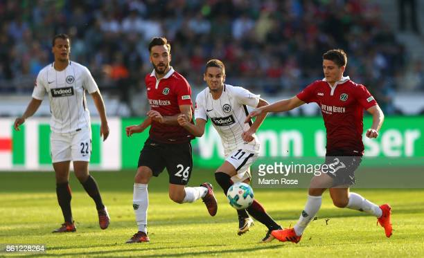 Pirmin Schwegler of Hannover and Mijat Gacinovic of Frankfurt battle for the ball during the Bundesliga match between Hannover 96 and Eintracht...