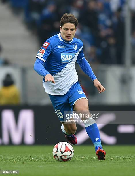 Pirmin Schwegler of Hoffenheim controls the ball during the Bundesliga match between 1899 Hoffenheim and Hamburger SV at Wirsol RheinNeckarArena on...