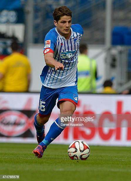 Pirmin Schwegler of Hoffenheim controls the ball during the Bundesliga match between 1899 Hoffenheim and Hertha BSC at Wirsol RheinNeckarArena on May...