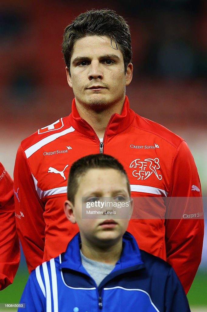 <a gi-track='captionPersonalityLinkClicked' href=/galleries/search?phrase=Pirmin+Schwegler&family=editorial&specificpeople=604263 ng-click='$event.stopPropagation()'>Pirmin Schwegler</a> of Switzerland lines up ahead of the International Friendly match between Greece and Switzerland at Karaiskakis Stadium on February 6, 2013 in Athens, Greece.