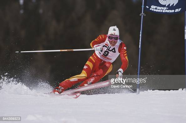 Pirmin Zurbriggen of Switzerland during the International Ski Federation Men's Giant Slalom at the FIS Alpine World Ski Championship on 4 February...