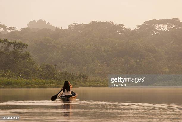 Pirogue on lake in Amazon
