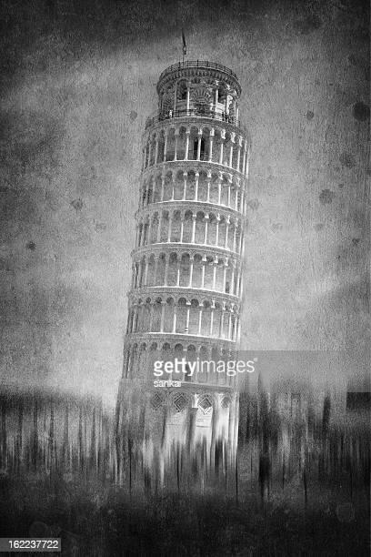 La Tour de Pise en noir et blanc